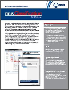 TITUS Data Sheet Classification for Desktop