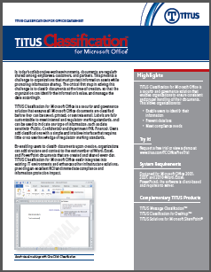 TITUS Data Sheet Classification for Microsoft Office