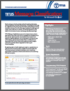 TITUS Data Sheet Message Classification for Outlook