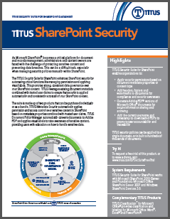 TITUS Data Sheet SharePoint Security