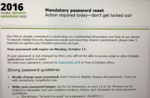 Deloitte Password Reset Request Email