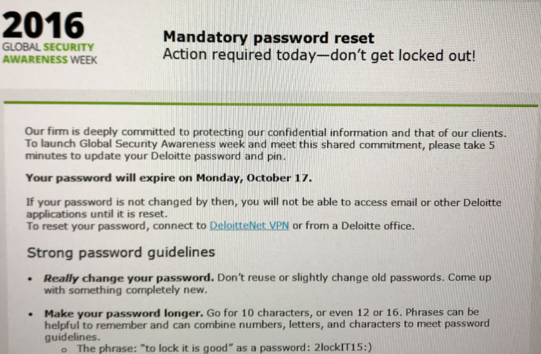 Deloitte Password Reset Request Email